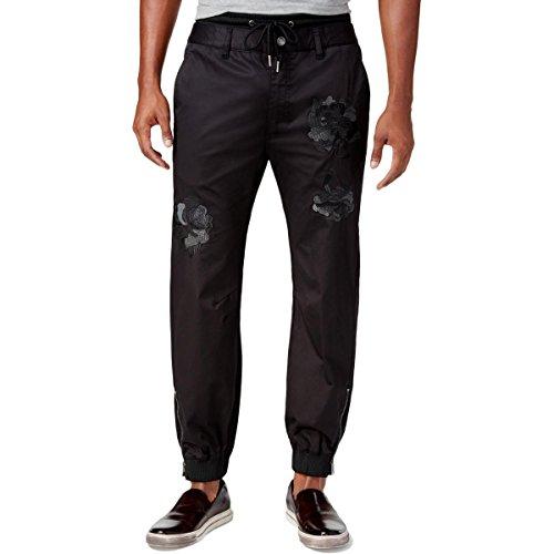 GUESS Mens chintz Embroidered Drawstring Jogger Pants Black XL