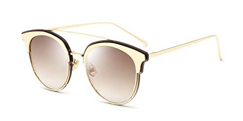 deac733dce GAMT Vintage Round Cat Eye Aviator Sunglasses Reflective Mirrored Lens with  Case Brown