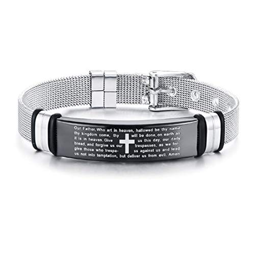 FOXI YOUTH 12MM Mens Surgical Steel Jesus Christian Mesh Net Cable Wrist Band Watch Strap Bracelet Silver&Black
