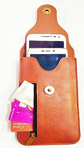 Realtech Chain Lock Double Mobile Pouch Belt Clip Cases with Card Holder and Money Pocket Case for vivo X60 Pro 5G… 2021 July The Brown Premium Leather Pouch Case, New Fashion Luxury Wallet Pouch | Dual Layer Dual Phone Storage And Multi Card Slot With Chain lock Wallet Case | It Functions Just Like a Wallet, Business And Travel Both Suitable. * This Case In Hand Will Meet Your Storage Demand For Accommodating Few Credit Cards, Small Currency Changes And Small Tickets Along With Your lovely Mobile Phone | Wallet Phone Case's Size Designed Very Large, Reserve The Largest Space For Apple/ Huawei/ Xiomi/ Iphone/ Google Phones Etc Will Suite. Premium Synthetic Leather Pouch with Belt clip/Belt loop . Light Weight, Durable, and Soft. Protectyour Phone against Screen Damage and other accidental damages.