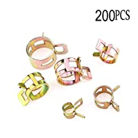 200Pcs Spring Band Type Clips Air Hose Tube Water Pipe Fuel Pipe Silicone Vacuum Hose Clamp Fasteners Assortment Kit (5mm 6mm 7mm 8mm 9mm 10mm 11mm 12mm)