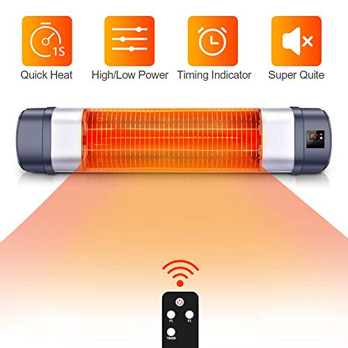 Patio Heater – 1500W Infrared Red Tube Space Heater w Remote, Timer Function 1s Instant Heat, Holder Available Wall Heater, Overheat Protection, Super Quiet Infrared in Outdoor Heater
