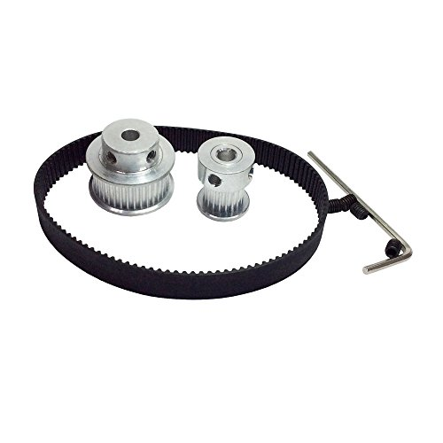 BEMONOC 2GT Timing Belt Kit Pulley 16 Teeth & 32 Teeth Shaft Center Distance 90mm Timing Belt Length 228mm Width 9mm for 3D Printer