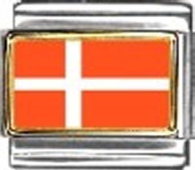 Denmark Photo Flag Italian Charm Bracelet Jewelry Link - Italian Modular 9mm Photo Charm