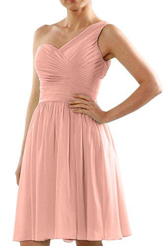 Short Dress Made MACloth Wedding Women Chiffon Shoulder Order Zartrosa One Bridesmaid to qxw6WTRtW
