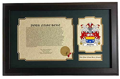 (Adamo - Coat of Arms and Last Name History, 14x22 Inches Matted and Framed)