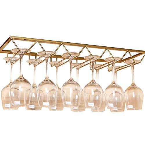 (Lzttyee European Style Iron 6-slot Triangle Design Hanging Wine Glass Organizer Storage Holder Under Cabinet Stemware Rack Hanger (Gold))