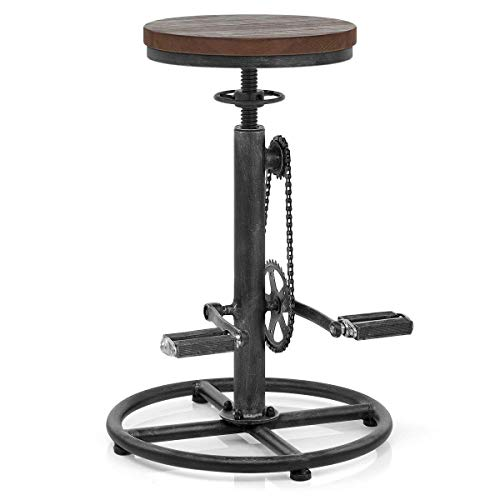 -Swivel Vintage Coffee Kitchen Dining Counter Chair-Bike Pedal Footrest-Pub Height Adjustable 29-37