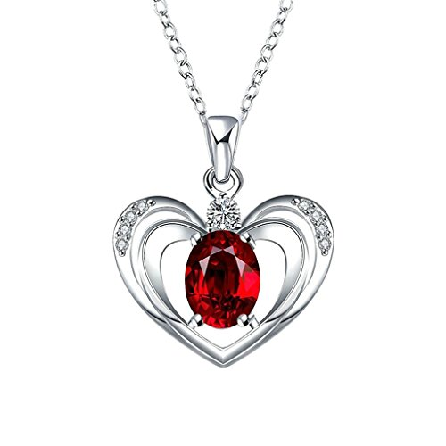 AmDxD Jewelry Gold Plated Women's Necklace Red AAA Elements Crystal Heart Hollow Design Pendant