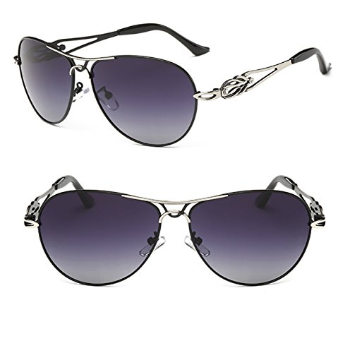Polarized UV Protection Fashionable Tide Sunglasses TAC Lenses for Women with Semi Hard Case (black, - Glasses Darken That In Sunlight