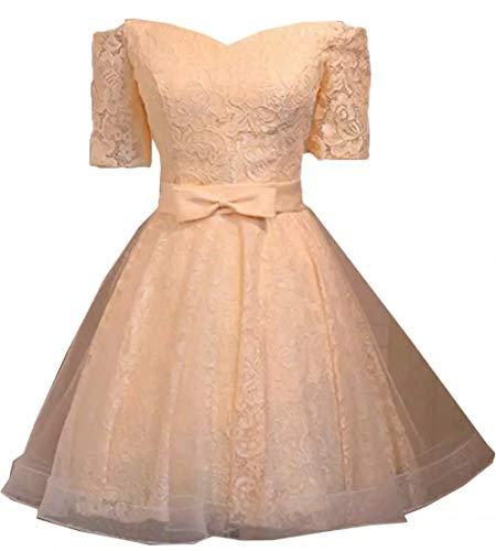 Braut Oberhalb Marie Herzausschnitt Cocktailkleider von Langarm Pfirsisch La Mini Spitze Kurz Rosa Promkleider Knie Partykleider H5xqdTwPyT