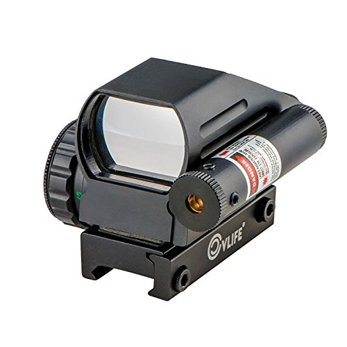(CVLIFE 1x22x33 Reflex Sight Red and Green 4 Reticle Dot Sight with 2mW Gun Sight Laser)