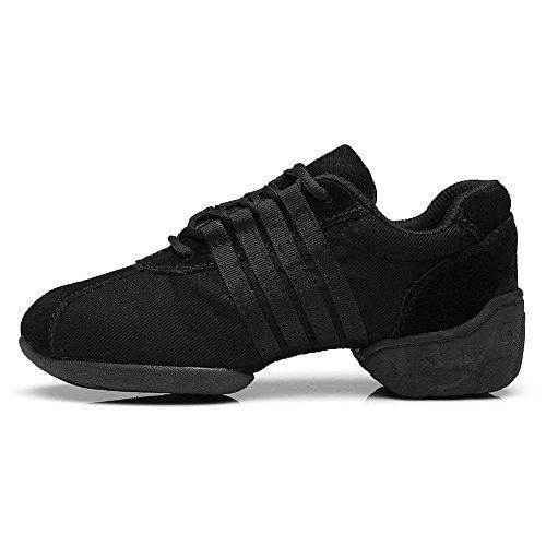 YFF Tanzschuhe Comfort Sneaker für Frauen Ballroom Jazz Black Canvas