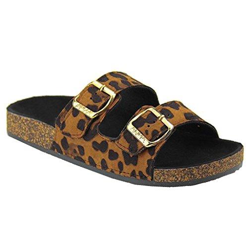 Women's Casual Buckle Straps Flip Flop Footbed Sandals (Leopard Faux Suede)