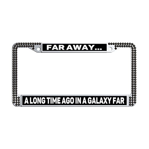 (FukongCase In A Galaxy Far Far Away. Bling Rhinestone License Plate Frame Holders, Cool Black Car Plate Holders with 2 Screws and Caps)