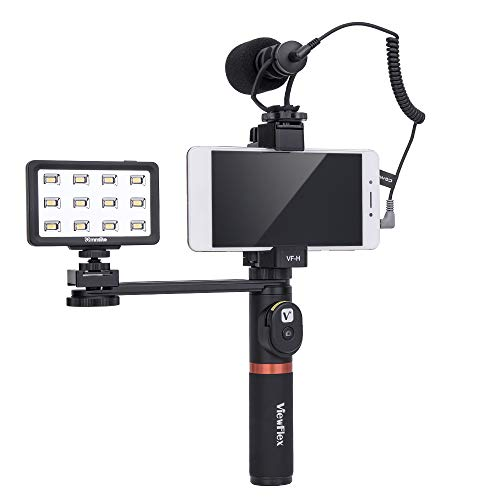 Viewflex Phone Video Kit VF-H6 Smartphone Video Rig with Recording Microphone and LED Video Light,Metal Handheld Grip for iPhone X max 7 8Plus 6s Android Cellphone Mic for Volgging Filming