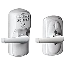 Schlage FE595CS V PLY 626 ELA Plymouth Light Commercial Electronic Keypad Lock with Elan Lever, Brushed Chrome