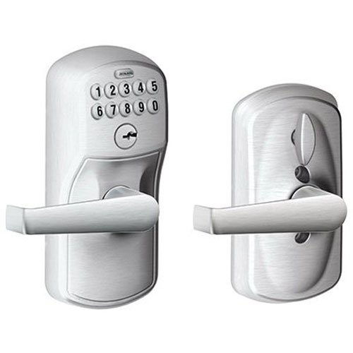 (Schlage FE595CS V PLY 626 ELA Plymouth Light Commercial Electronic Keypad Lock with Elan Lever, Brushed)