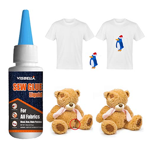 Visbella 1 Min Quick Bonding Fast Dry Sew Glue Liquid Reinforcing Adhesive Speedy Fix for All Fabrics Clothing Cotton Flannel Denim Leather Polyester Doll Repair (60ml) best to buy