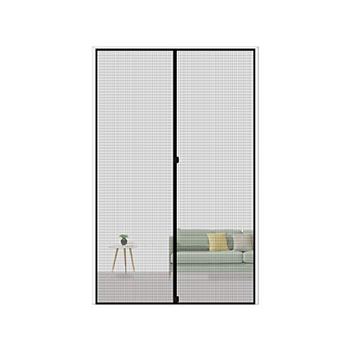 MAGZO Magnetic Screen Door 30 x 80, Reinforced Fiberglass Mesh Curtain Door Mesh with Full Frame Hook&Loop Fits Door Size up to 30