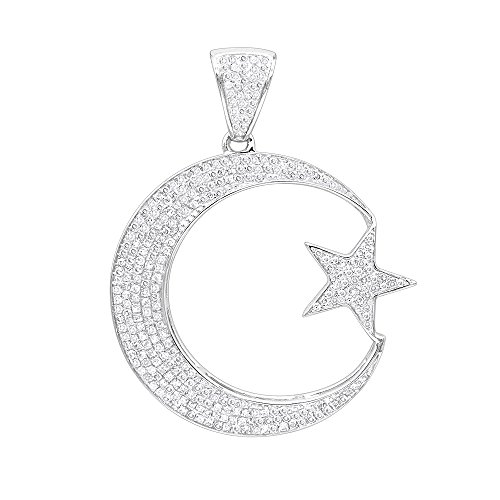 18k White Gold Pave Diamond Pendant (Unique 10K Gold Star and Crescent Moon Unisex Diamond Pendant 0.8ctw (White Gold))