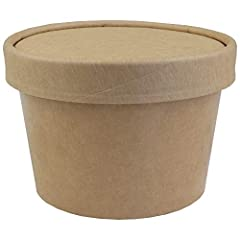 These Kraft Brown Paper To Go Containers with Lids are best used for ice cream, gelato, frozen yogurt and many other things. Comes with container and lid. **If you plan to use these for hot soups/oatmeal/warm beverages be aware that your mile...
