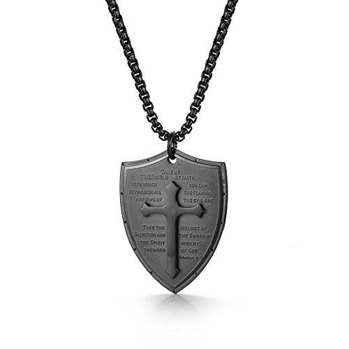 Cupimatch Men Shield Armor of God Ephesians 6:16-17 Faith Cross Necklace, Stainless Steel Pendant Necklace,Black