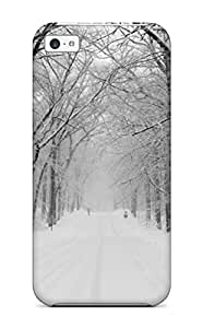 For Iphone 5c Premium Tpu Case Cover Amazing Winter Snowy Road Protective Case