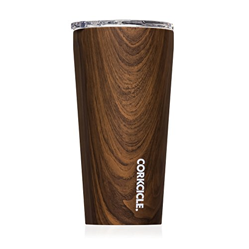 Corkcicle Tumbler - Classic Collection - Triple Insulated Stainless Steel Travel Mug, Walnut Wood, 16 oz