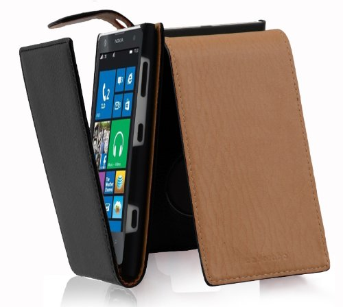 - Cadorabo Case Works with Nokia Lumia 1020 in Oxide Black - Flip Style Case Made of Structured Faux Leather - Wallet Etui Cover Pouch PU Leather Flip