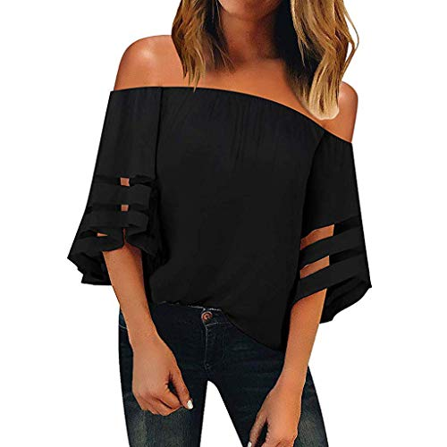 CMrtew 2019 Sexy Women's Fashion Women Off Shoulder Mesh Panel Blouse 3/4 Bell Sleeve Loose Top Shirt Party Gift Black -
