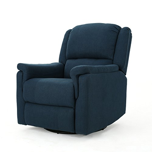 Christopher Knight Home 302056 Jemma Swivel Gliding Recliner Chair, Navy Blue
