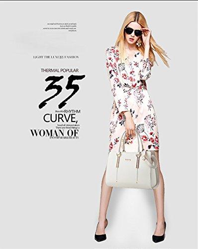 Honeymall Damen Elegant Henkeltasche Reisetaschen Mädchen Schule Taschen Rucksäcke PU Leder Handtasche(Weiß) Weiß