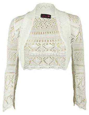 New Ladies Knitted Long Sleeve Bolero Shrug Womens Stretch Crochet Pattern Sh...