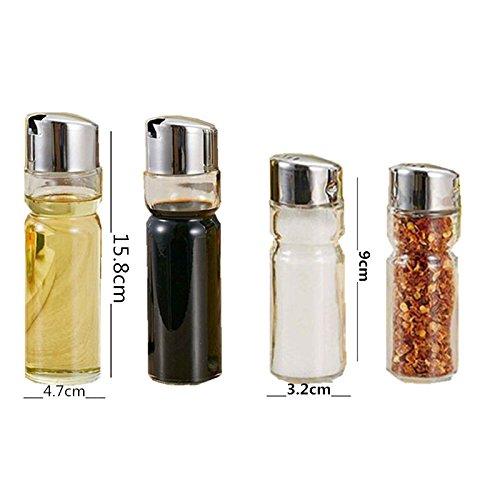 Club Set Sale e Pepe, Olio e Aceto, in acciaio inox e vetro, Salsa Aceto Cruet Set Barattoli Porta Spezie di 5