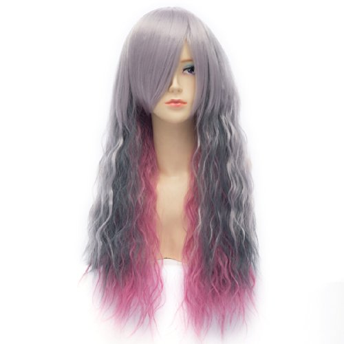 Paixpays Long Curly Wavy Instant Noodles Wig Gradient Color Corn Cosplay Wigs - Instant Noodle Costume