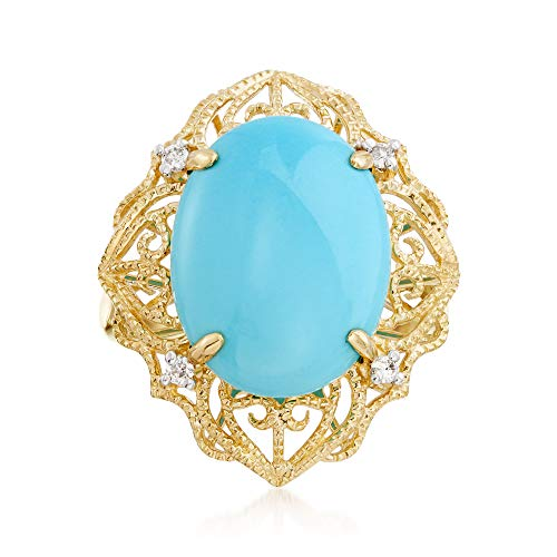 Ross-Simons Sleeping Beauty Turquoise Filigree Ring With Diamond Accents in 14kt Yellow Gold ()