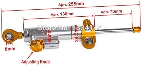 Side Mount Adjustable Steering Damper with Fork Clamp 130mm Stroke New,