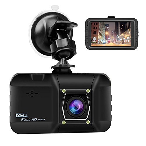 OKEEY Car Camera 3.0'' LCD Screen Dash Cam Full HD 1080P Video Recorder with 170 Degree Wide Viewing Parking Monitor G-Sensor Detection Loop Recording and Infrared Night Vision (Display Dashboard)