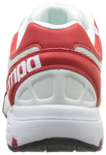 Kempa Tornado Women 2008477 - Zapatillas de balonmano de caucho para mujer, color blanco, talla 36 EU (3.5 Damen UK) Blanco (Weiß (weiß/rot/fluo gelb 02))
