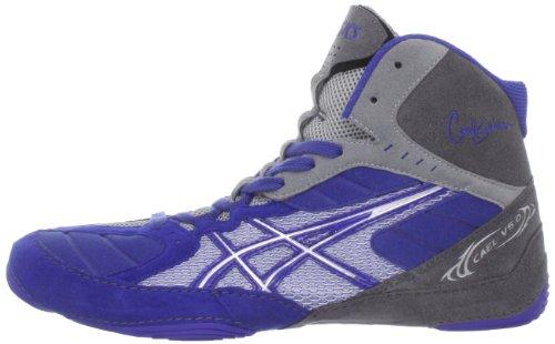 Zapatillas de lucha Asics Cael V5.0 para hombre Azul / Plateado / Titanio 7,5 M EE. UU.