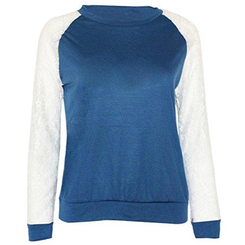 pissure Manches Col Pulls Tops Blouse Casual Femmes Automne Pullover Dentelle Shirts Bleu Shirts Jumpers Sweat T et Printemps Rond Hauts Longues fwq0PqXO