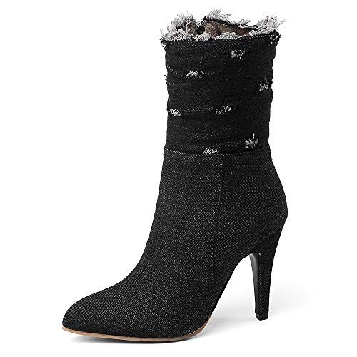 Side Zip Pumps - SNIDEL Ankle Boots for Women High Heels Denim Pump Shoes Mid Calf Side Zip Botas Fall Winter Boots Black9.5 B (M) US