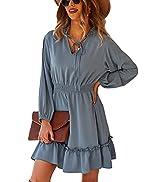 CinShein Womens Casual Dress Long Sleeve V-Neck Short Plain Dress Summer Ruffle Elastic Waist Flo...