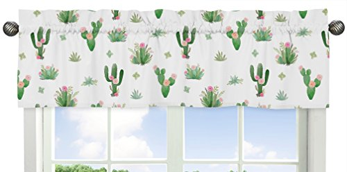 Pink and Green Boho Watercolor Window Treatment Valance for Cactus Floral Collection by Sweet Jojo Designs