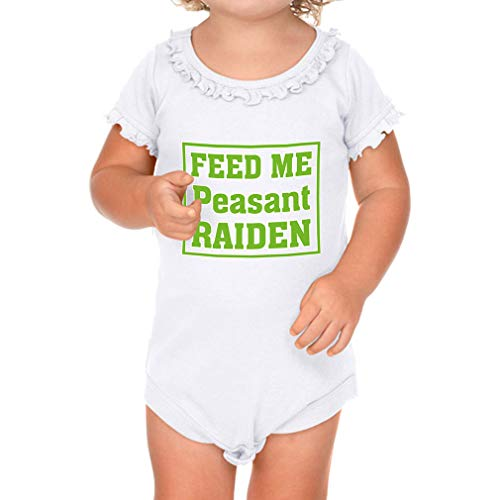 Cute Rascals Feed Me Peasant Raiden Short Sleeve Scoop Neck Girl Sunflower Cotton Baby Ruffle Bodysuit - White, 6 Months
