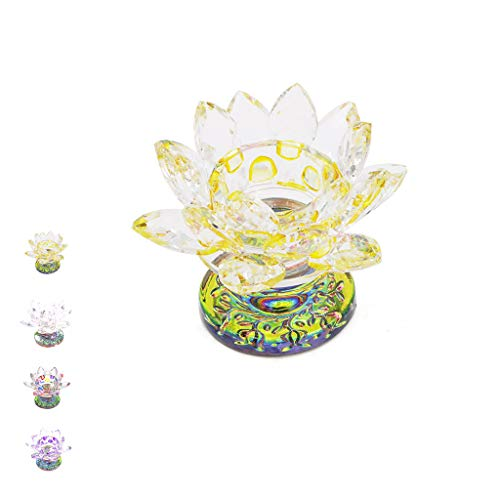Fvstar Yellow Crystal Lotus Flower Tealight Candle Holder Centerpieces for Home Wedding Votive Activity Birthday Party Present for Christmas Thanksgiving Decoration