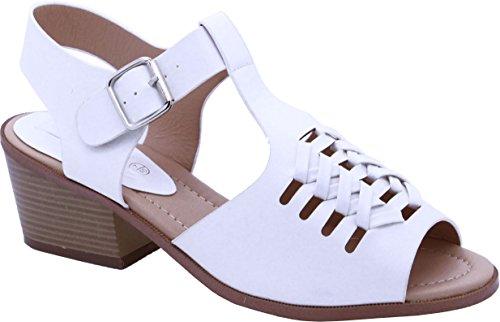 Saute Styles - Sandalias de vestir para mujer - White Faux Leather Buckle Chunky Punk