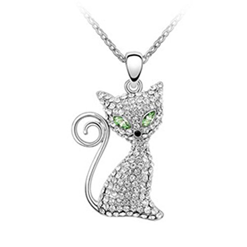 AROUND 101 Austria Swarovski Element Crystal Pendant Necklace -- Magic Eye Cat (Green) (Swarovski Jade Necklace)