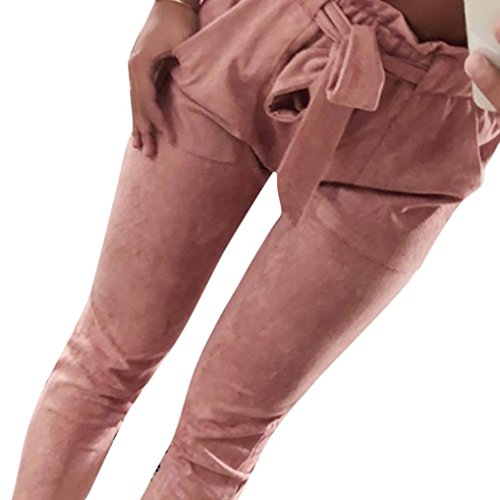 2018 Women's Harem Pants, High Waist Bowtie Elastic Waist Stripe Casual Trousers by-NEWONESUN